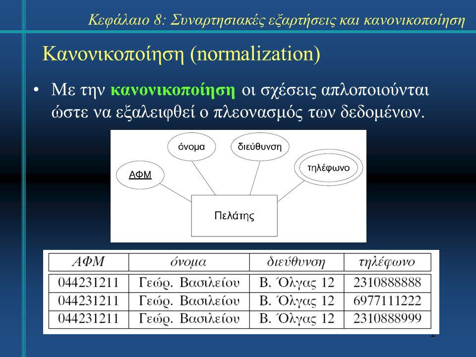23 Δεύτερη κανονική μορφή Ένας πίνακας που είναι σε 1ΚΜ είναι και σε 2ΚΜ όταν ισχύει οποιοδήποτε από τα εξής: –το πρωτεύον κλειδί αποτελείται από ένα και μόνο χαρακτηριστικό, –ο πίνακας δεν έχει χαρακτηριστικά που δεν ανήκουν στο κλειδί (all-key relation), ή –κάθε χαρακτηριστικό που δεν είναι κλειδί, είναι πλήρως συναρτησιακά εξαρτώμενο από το πρωτεύον κλειδί.