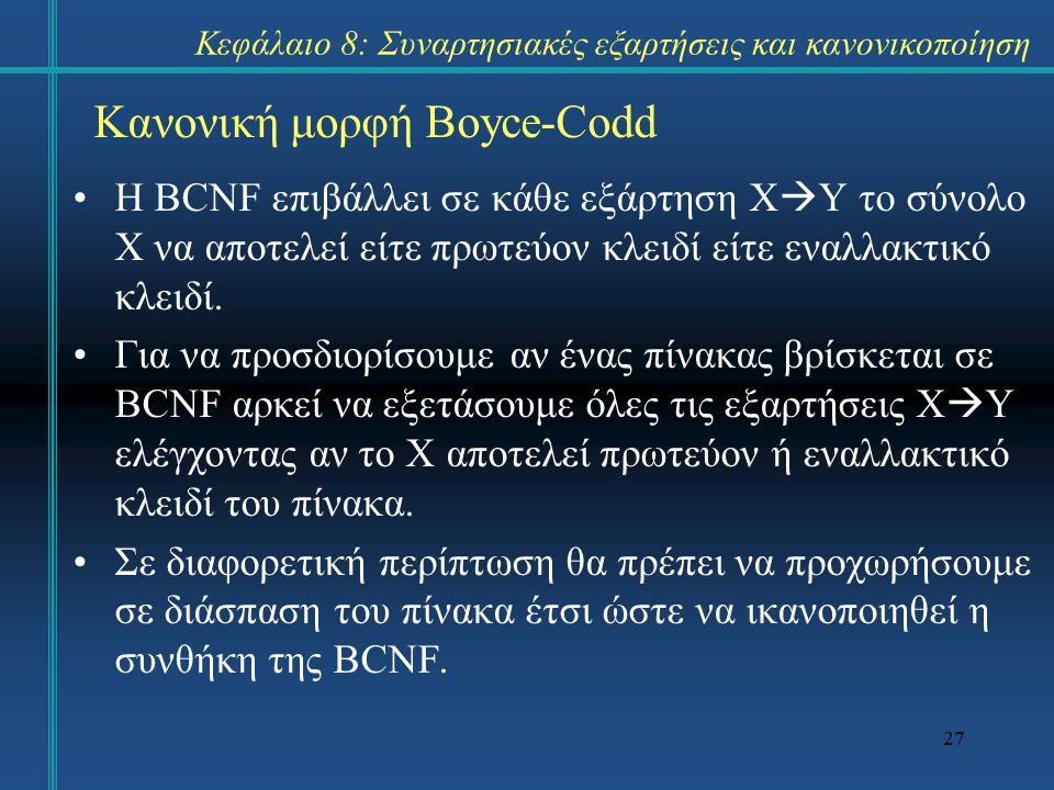 27 Κανονική μορφή Boyce-Codd Η BCNF επιβάλλει σε κάθε εξάρτηση X  Y το σύνολο X να αποτελεί είτε πρωτεύον κλειδί είτε εναλλακτικό κλειδί. Για να προσ