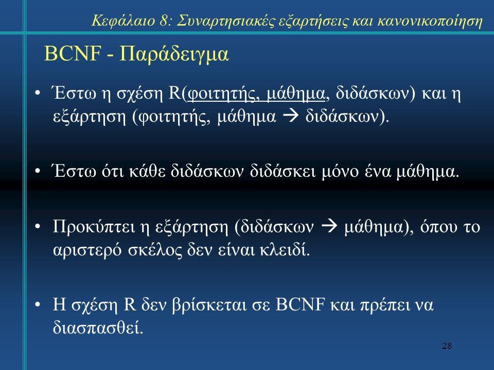 28 BCNF - Παράδειγμα Έστω η σχέση R(φοιτητής, μάθημα, διδάσκων) και η εξάρτηση (φοιτητής, μάθημα  διδάσκων). Έστω ότι κάθε διδάσκων διδάσκει μόνο ένα