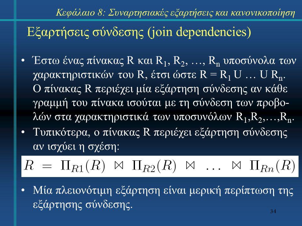 34 Εξαρτήσεις σύνδεσης (join dependencies) Έστω ένας πίνακας R και R 1, R 2, …, R n υποσύνολα των χαρακτηριστικών του R, έτσι ώστε R = R 1 U … U R n.