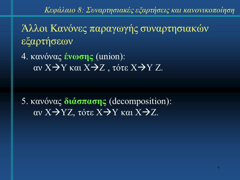 7 Άλλοι Κανόνες παραγωγής συναρτησιακών εξαρτήσεων 4. κανόνας ένωσης (union): αν X  Y και X  Z, τότε X  Y Z. 5. κανόνας διάσπασης (decomposition):