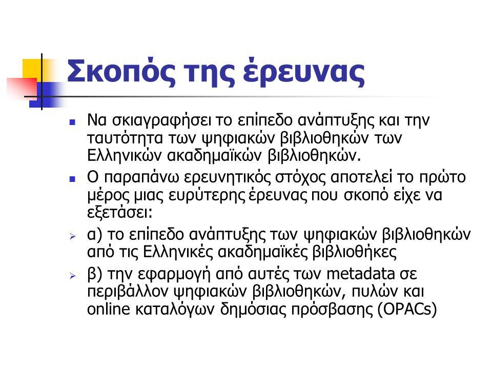 Σκοπός της έρευνας Nα σκιαγραφήσει το επίπεδο ανάπτυξης και την ταυτότητα των ψηφιακών βιβλιοθηκών των Ελληνικών ακαδημαϊκών βιβλιοθηκών.