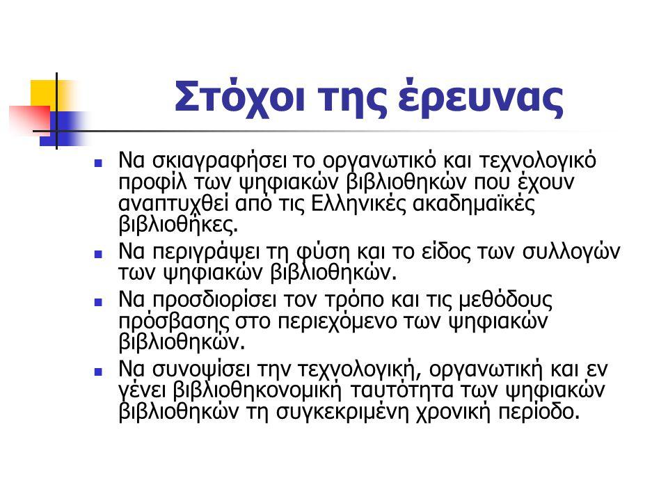 Στόχοι της έρευνας Να σκιαγραφήσει το οργανωτικό και τεχνολογικό προφίλ των ψηφιακών βιβλιοθηκών που έχουν αναπτυχθεί από τις Ελληνικές ακαδημαϊκές βιβλιοθήκες.