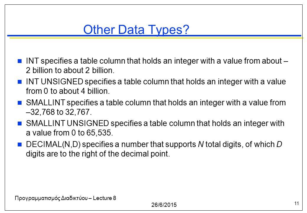 11 26/6/2015 Προγραμματισμός Διαδικτύου – Lecture 8 Other Data Types.