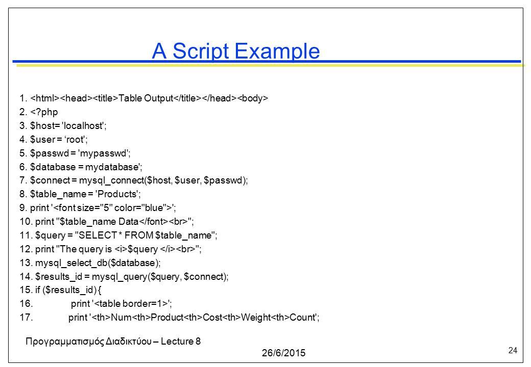 24 26/6/2015 Προγραμματισμός Διαδικτύου – Lecture 8 A Script Example 1.