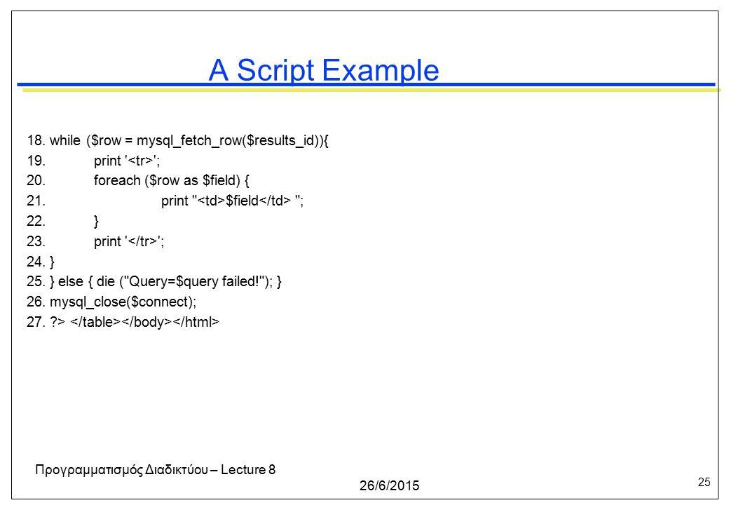 25 26/6/2015 Προγραμματισμός Διαδικτύου – Lecture 8 A Script Example 18.