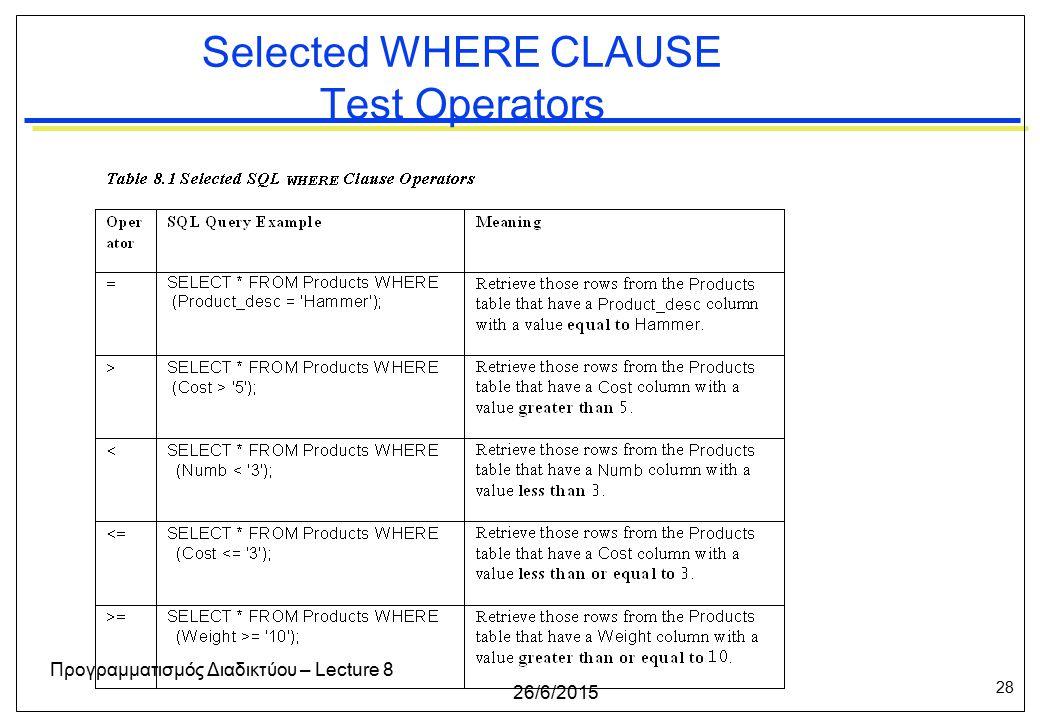 28 26/6/2015 Προγραμματισμός Διαδικτύου – Lecture 8 Selected WHERE CLAUSE Test Operators