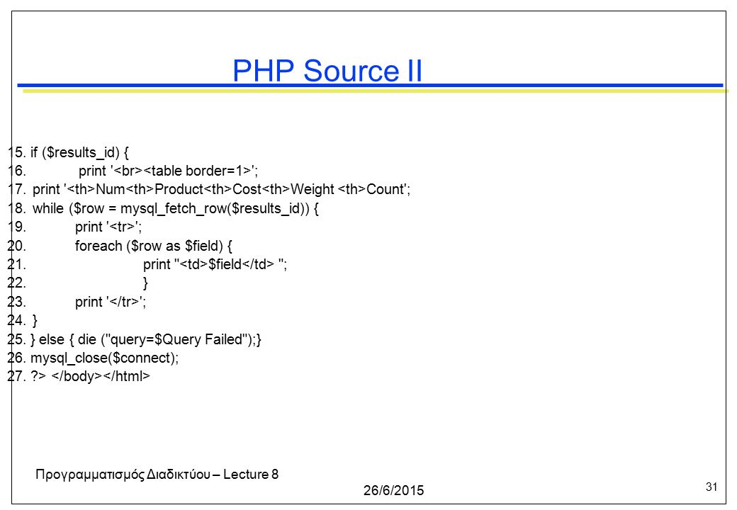 31 26/6/2015 Προγραμματισμός Διαδικτύου – Lecture 8 PHP Source II 15.