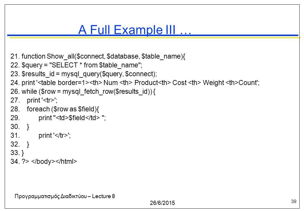 39 26/6/2015 Προγραμματισμός Διαδικτύου – Lecture 8 A Full Example III … 21.