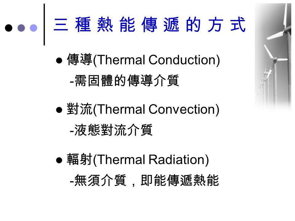 三種熱能傳遞的方式 傳導 (Thermal Conduction) - 需固體的傳導介質 對流 (Thermal Convection) - 液態對流介質 輻射 (Thermal Radiation) - 無須介質,即能傳遞熱能