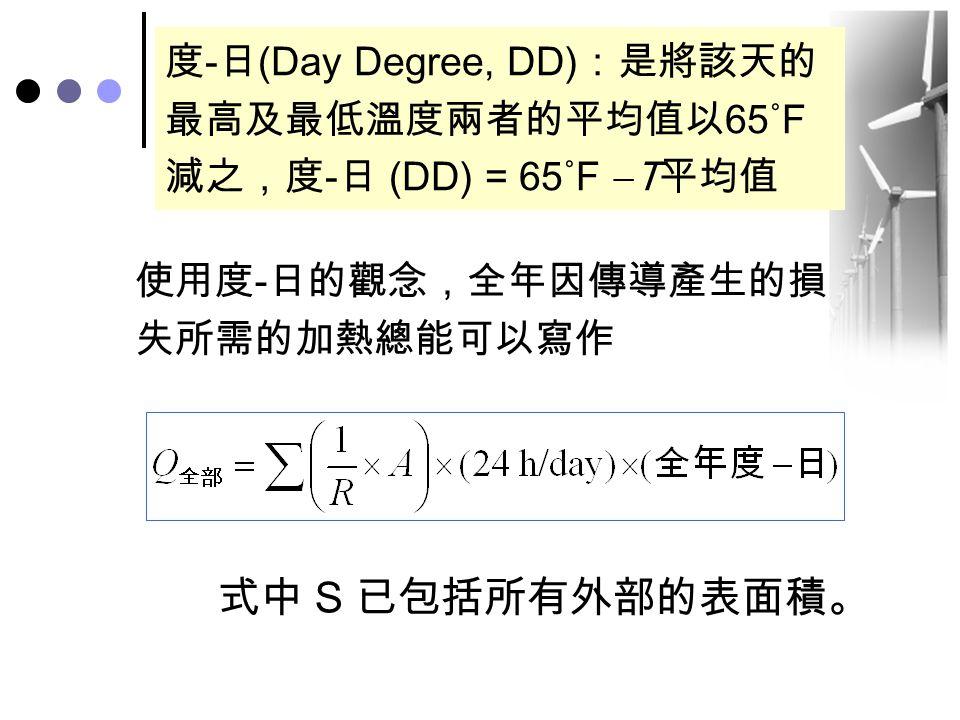 使用度 - 日的觀念,全年因傳導產生的損 失所需的加熱總能可以寫作 式中 S 已包括所有外部的表面積。 度-日(Day Degree, DD):是將該天的 最高及最低溫度兩者的平均值以65˚F 減之,度-日 (DD) = 65˚F  T平均值