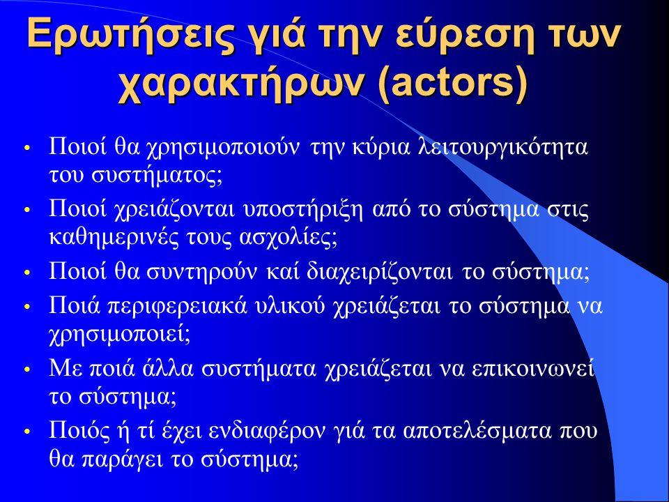Ερωτήσεις γιά την εύρεση των χαρακτήρων (actors) Ποιοί θα χρησιμοποιούν την κύρια λειτουργικότητα του συστήματος; Ποιοί χρειάζονται υποστήριξη από το