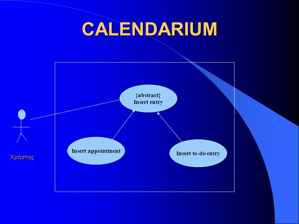 CALENDARIUM {abstract} Insert entry Insert to-do entry Insert appointment Χρήστης