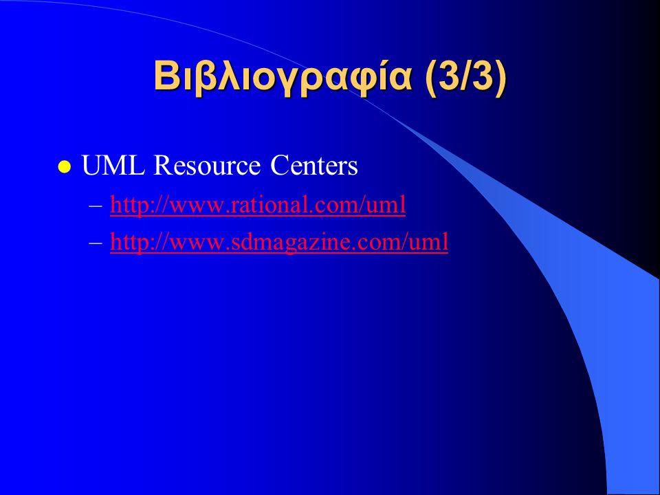 Βιβλιογραφία (3/3) l UML Resource Centers –http://www.rational.com/umlhttp://www.rational.com/uml –http://www.sdmagazine.com/umlhttp://www.sdmagazine.