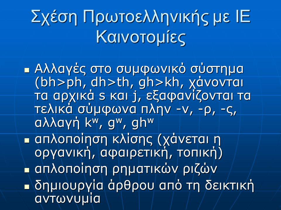 Σχέση Πρωτοελληνικής με ΙΕ Καινοτομίες Αλλαγές στο συμφωνικό σύστημα (bh>ph, dh>th, gh>kh, χάνονται τα αρχικά s και j, εξαφανίζονται τα τελικά σύμφωνα