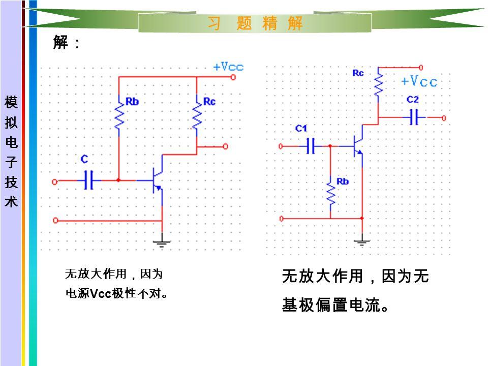 习 题 精 解 解: 无放大作用,因为 电源 Vcc 极性不对。 无放大作用,因为无 基极偏置电流。