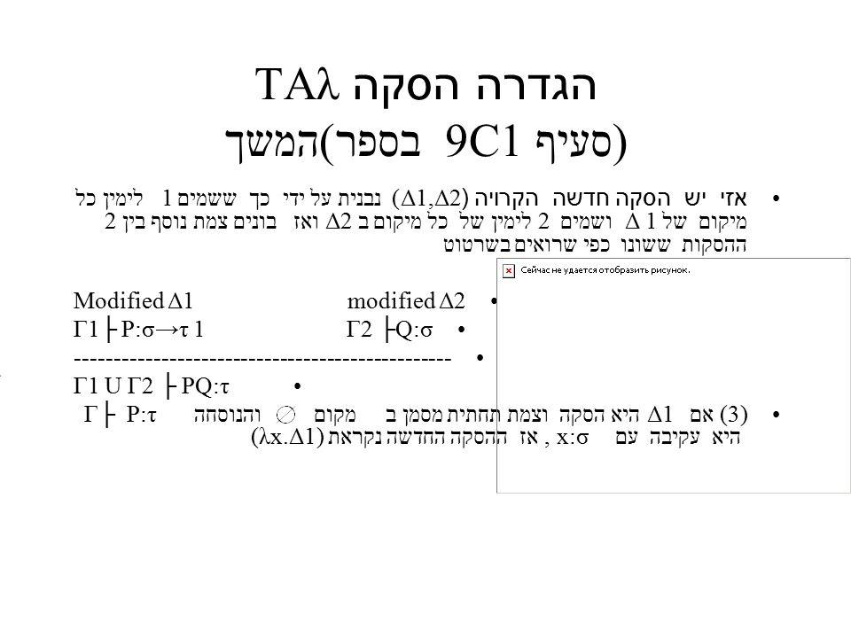 הגדרה הסקה TAλ (סעיף 9C1 בספר)המשך אזי יש הסקה חדשה הקרויה (Δ1,Δ2) נבנית על ידי כך ששמים 1 לימין כל מיקום של 1 Δ ושמים 2 לימין של כל מיקום ב 2Δ ואז בונים צמת נוסף בין 2 ההסקות ששונו כפי שרואים בשרטוט Modified Δ1 modified Δ2 Γ1├ P:σ→τ 1 Γ2 ├Q:σ ------------------------------------------------ Γ1 U Γ2 ├ PQ:τ (3) אם Δ1 היא הסקה וצמת תחתית מסמן ב מקום והנוסחה Γ├ P:τ היא עקיבה עם x:σ, אז ההסקה החדשה נקראת (λx.Δ1)
