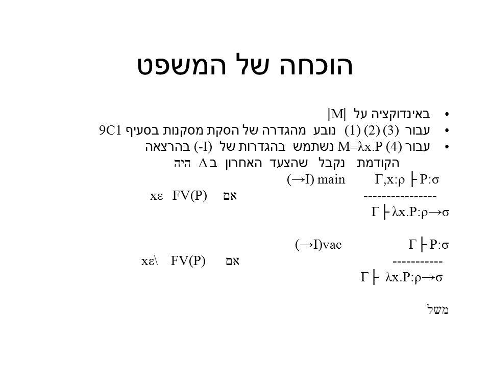 הוכחה של המשפט באינדוקציה על |M| עבור ( 1) (2) (3 ) נובע מהגדרה של הסקת מסקנות בסעיף 9C1 עבור (4) M≡λx.P נשתמש בהגדרות של (-I) בהרצאה הקודמת נקבל שהצעד האחרון ב Δ היה (→I) main Γ,x:ρ ├ P:σ ---------------- אם FV(P) xε λx.P:ρ→σ Γ├ (→I)vac Γ├ P:σ ----------- אם xε\ FV(P) Γ├ λx.P:ρ→σ משל