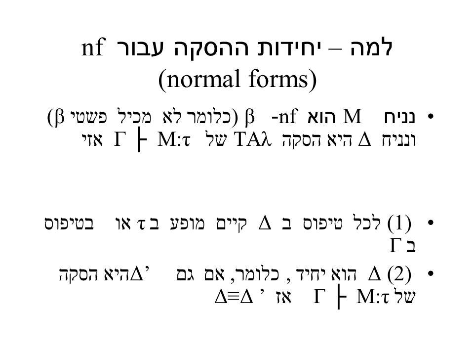 למה – יחידות ההסקה עבור nf (normal forms) נניח M הוא nf- β (כלומר לא מכיל פשטי β) ונניח Δ היא הסקה TAλ של M:τ ├ Γ אזי (1) לכל טיפוס ב Δ קיים מופע ב τ או בטיפוס ב Γ (2) Δ הוא יחיד, כלומר, אם גם Δ' היא הסקה של M:τ ├ Γ אז ' Δ≡Δ
