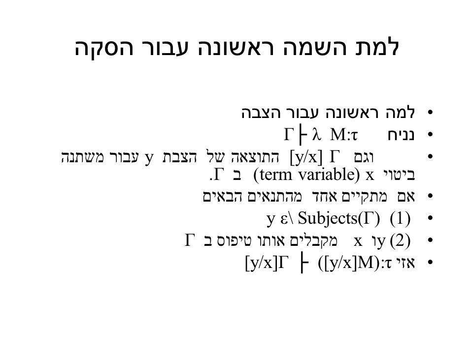 למת השמה ראשונה עבור הסקה למה ראשונה עבור הצבה נניח Γ├ λ M:τ וגם [y/x] Γ התוצאה של הצבת y עבור משתנה ביטוי x (term variable) ב Γ.