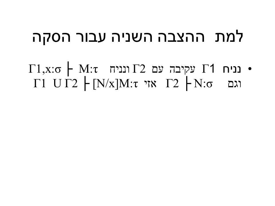 למת ההצבה השניה עבור הסקה נניח 1Γ עקיבה עם 2Γ ונניח Γ1,x:σ ├ M:τ וגם N:σ ├ 2Γ אזי Γ1 U Γ2 ├ [N/x]M:τ