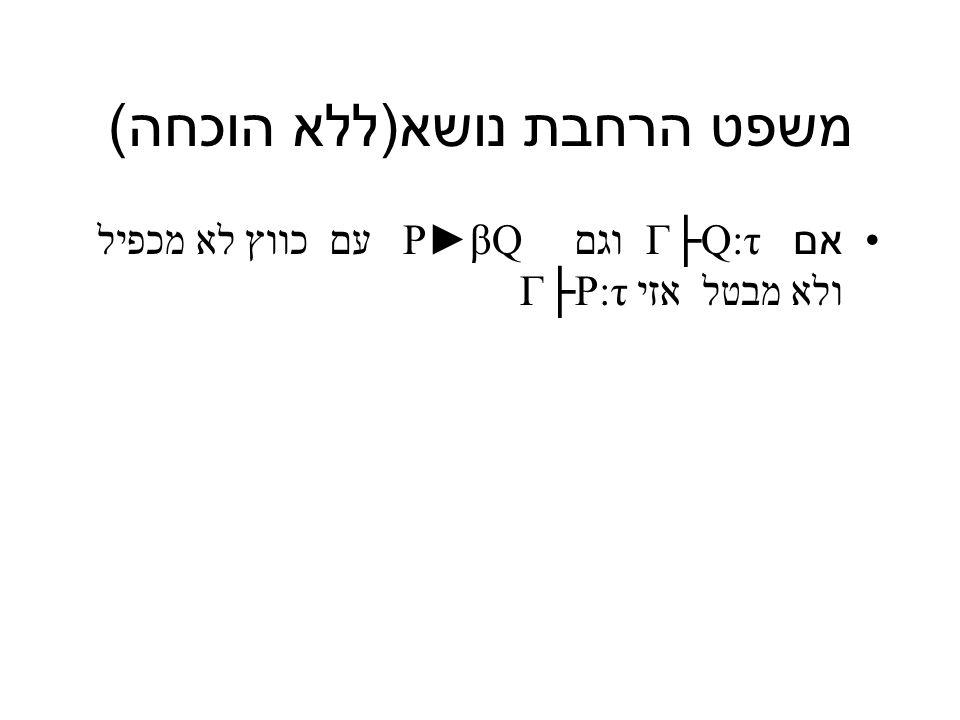 משפט הרחבת נושא ( ללא הוכחה ) אם Γ├Q:τ וגם P►βQ עם כווץ לא מכפיל ולא מבטל אזי Γ├P:τ
