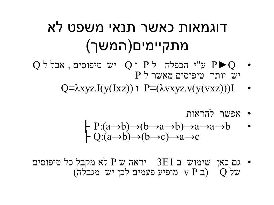 דוגמאות כאשר תנאי משפט לא מתקיימים ( המשך ) P►Q ע י הכפלה ל P ו Q יש טיפוסים, אבל ל Q יש יותר טיפוסים מאשר ל P P≡(λvxyz.v(y(vxz)))I ו Q≡λxyz.I(y(Ixz)) אפשר להראות P:(a→b)→(b→a→b)→a→a→b ├ Q:(a→b)→(b→c)→a→c ├ גם כאן שימוש ב 3E1 יראה ש P לא מקבל כל טיפוסים של Q (ב P v מופיע פעמים לכן יש מגבלה)