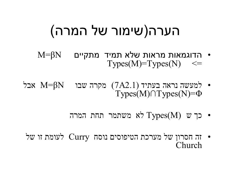 הערה ( שימור של המרה ) הדוגמאות מראות שלא תמיד מתקיים M=βN => Types(M)=Types(N) למעשה נראה בעתיד (7A2.1) מקרה שבו M=βN אבל Types(M)∩Types(N)=Φ כך ש Types(M) לא משתמר תחת המרה זה חסרון של מערכת הטיפוסים נוסח Curry לעומת זו של Church