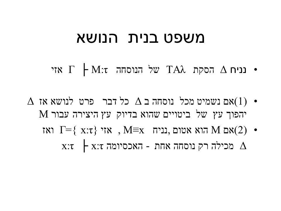 משפט בנית הנושא נניח Δ הסקת TAλ של הנוסחה M:τ ├ Γ אזי 1))אם נשמיט מכל נוסחה ב Δ כל דבר פרט לנושא אז Δ יהפוך עץ של ביטויים שהוא בדיוק עץ היצירה עבור M 2))אם M הוא אטום,נניח M≡x, אזי x:τ} }=Γ ואז Δ מכילה רק נוסחה אחת - האכסיומה x:τ ├ x:τ