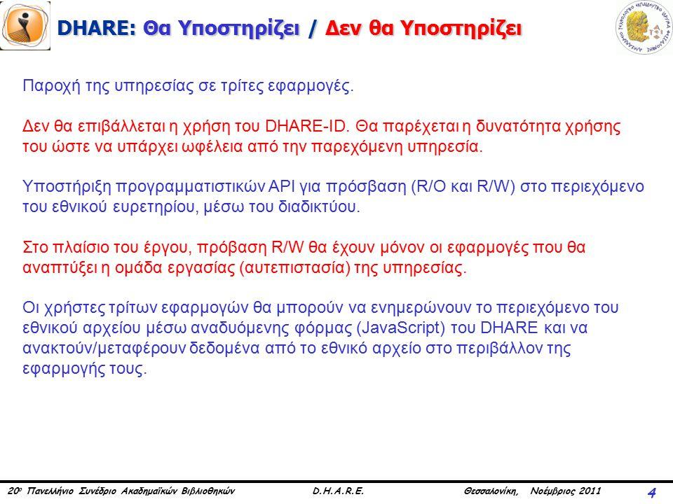 20 ο Πανελλήνιο Συνέδριο Ακαδημαϊκών Βιβλιοθηκών D.H.A.R.E. Θεσσαλονίκη, Νοέμβριος 2011 DHARE: Θα Υποστηρίζει / Δεν θα Υποστηρίζει 4 Παροχή της υπηρεσ