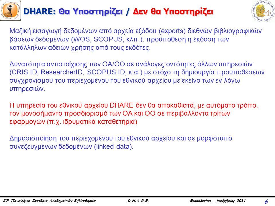20 ο Πανελλήνιο Συνέδριο Ακαδημαϊκών Βιβλιοθηκών D.H.A.R.E. Θεσσαλονίκη, Νοέμβριος 2011 DHARE: Θα Υποστηρίζει / Δεν θα Υποστηρίζει 6 Μαζική εισαγωγή δ