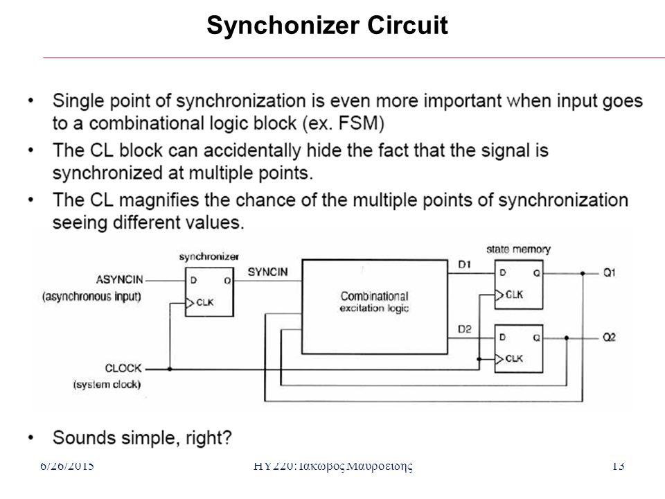 6/26/2015HY220: Ιάκωβος Μαυροειδής13 Synchonizer Circuit