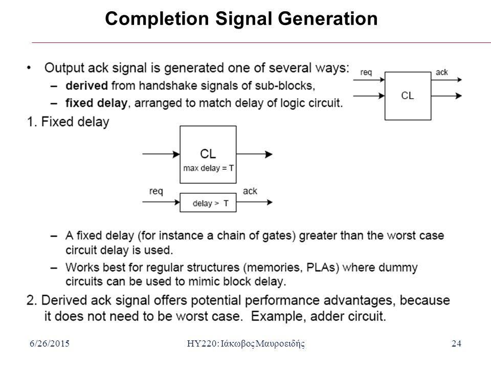 6/26/2015HY220: Ιάκωβος Μαυροειδής24 Completion Signal Generation