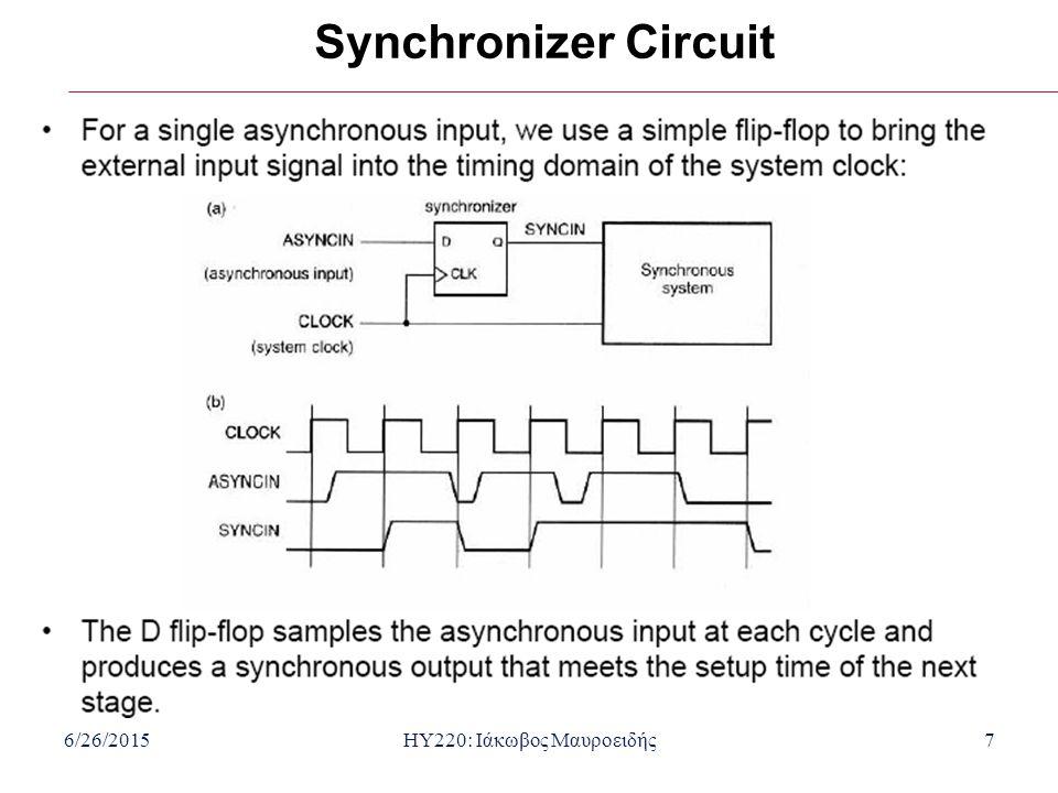 6/26/2015HY220: Ιάκωβος Μαυροειδής7 Synchronizer Circuit