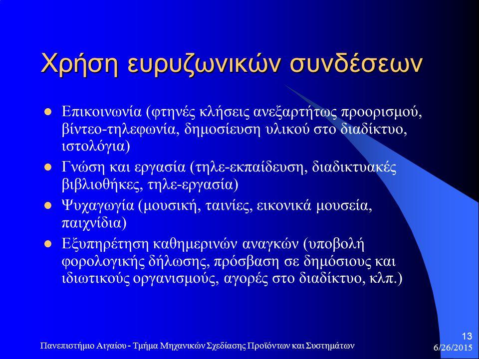 6/26/2015 Πανεπιστήμιο Αιγαίου - Τμήμα Μηχανικών Σχεδίασης Προϊόντων και Συστημάτων 13 Χρήση ευρυζωνικών συνδέσεων Επικοινωνία (φτηνές κλήσεις ανεξαρτήτως προορισμού, βίντεο-τηλεφωνία, δημοσίευση υλικού στο διαδίκτυο, ιστολόγια) Γνώση και εργασία (τηλε-εκπαίδευση, διαδικτυακές βιβλιοθήκες, τηλε-εργασία) Ψυχαγωγία (μουσική, ταινίες, εικονικά μουσεία, παιχνίδια) Εξυπηρέτηση καθημερινών αναγκών (υποβολή φορολογικής δήλωσης, πρόσβαση σε δημόσιους και ιδιωτικούς οργανισμούς, αγορές στο διαδίκτυο, κλπ.)