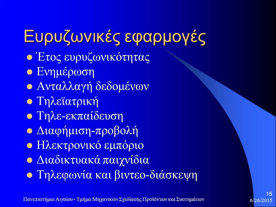 6/26/2015 Πανεπιστήμιο Αιγαίου - Τμήμα Μηχανικών Σχεδίασης Προϊόντων και Συστημάτων 16 Ενημέρωση Η πλοήγηση στο διαδίκτυο γίνεται σε υψηλές ταχύτητες.