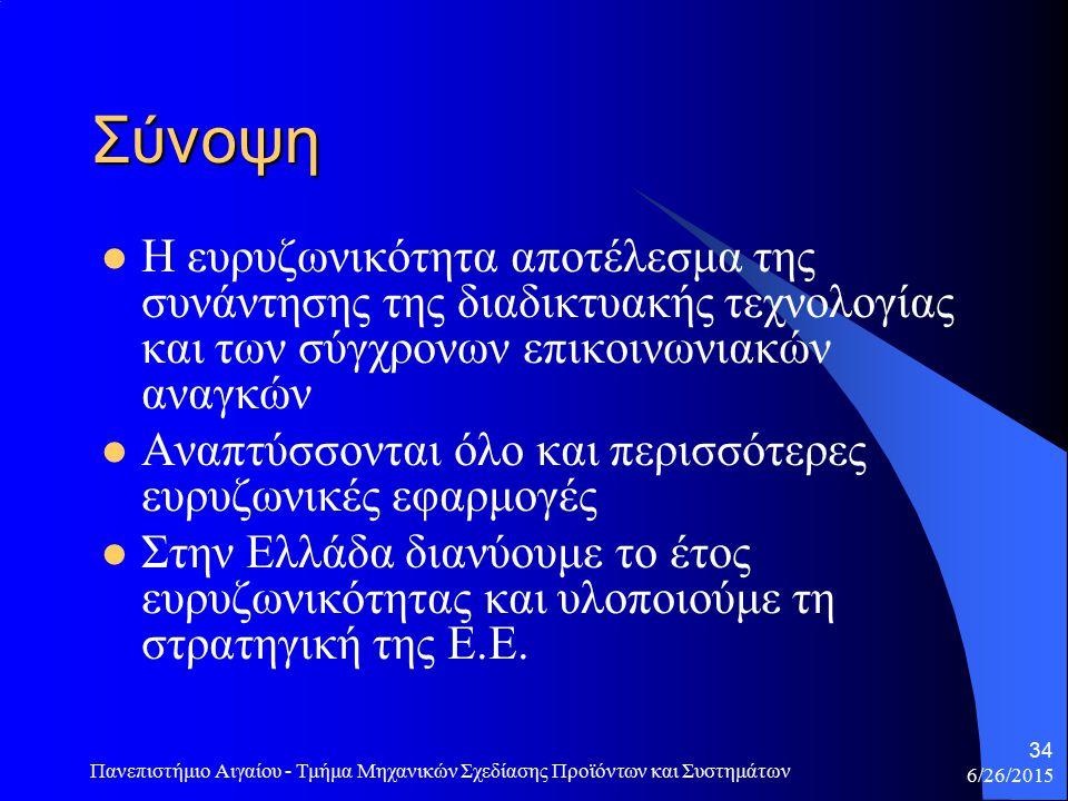6/26/2015 Πανεπιστήμιο Αιγαίου - Τμήμα Μηχανικών Σχεδίασης Προϊόντων και Συστημάτων 34 Σύνοψη Η ευρυζωνικότητα αποτέλεσμα της συνάντησης της διαδικτυακής τεχνολογίας και των σύγχρονων επικοινωνιακών αναγκών Αναπτύσσονται όλο και περισσότερες ευρυζωνικές εφαρμογές Στην Ελλάδα διανύουμε το έτος ευρυζωνικότητας και υλοποιούμε τη στρατηγική της Ε.Ε.