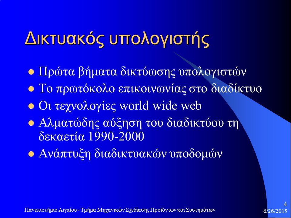 6/26/2015 Πανεπιστήμιο Αιγαίου - Τμήμα Μηχανικών Σχεδίασης Προϊόντων και Συστημάτων 4 Δικτυακός υπολογιστής Πρώτα βήματα δικτύωσης υπολογιστών Το πρωτόκολο επικοινωνίας στο διαδίκτυο Οι τεχνολογίες world wide web Αλματώδης αύξηση του διαδικτύου τη δεκαετία 1990-2000 Ανάπτυξη διαδικτυακών υποδομών