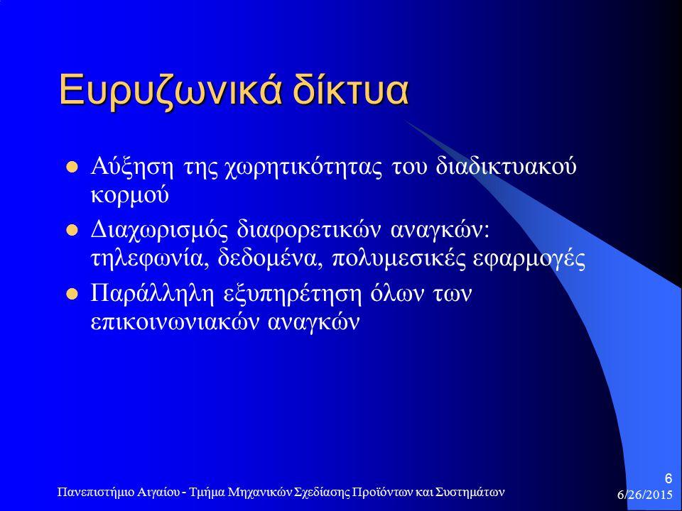 6/26/2015 Πανεπιστήμιο Αιγαίου - Τμήμα Μηχανικών Σχεδίασης Προϊόντων και Συστημάτων 6 Ευρυζωνικά δίκτυα Αύξηση της χωρητικότητας του διαδικτυακού κορμού Διαχωρισμός διαφορετικών αναγκών: τηλεφωνία, δεδομένα, πολυμεσικές εφαρμογές Παράλληλη εξυπηρέτηση όλων των επικοινωνιακών αναγκών
