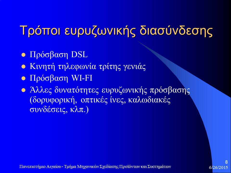 6/26/2015 Πανεπιστήμιο Αιγαίου - Τμήμα Μηχανικών Σχεδίασης Προϊόντων και Συστημάτων 9 Πρόσβαση DSL Στην πραγματικότητα το DSL είναι μία οικογένεια τεχνολογιών που περιλαμβάνει μία ποικιλία παραλλαγών.