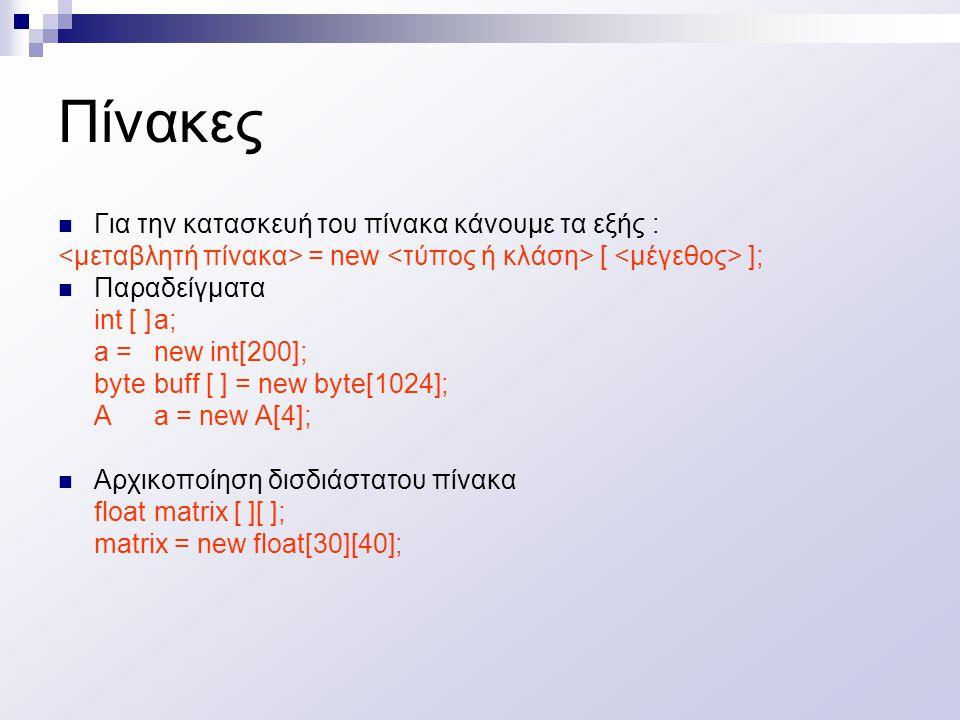 Πίνακες Για την κατασκευή του πίνακα κάνουμε τα εξής : = new [ ]; Παραδείγματα int [ ]a; a = new int[200]; bytebuff [ ] = new byte[1024]; Aa = new A[4]; Αρχικοποίηση δισδιάστατου πίνακα floatmatrix [ ][ ]; matrix = new float[30][40];