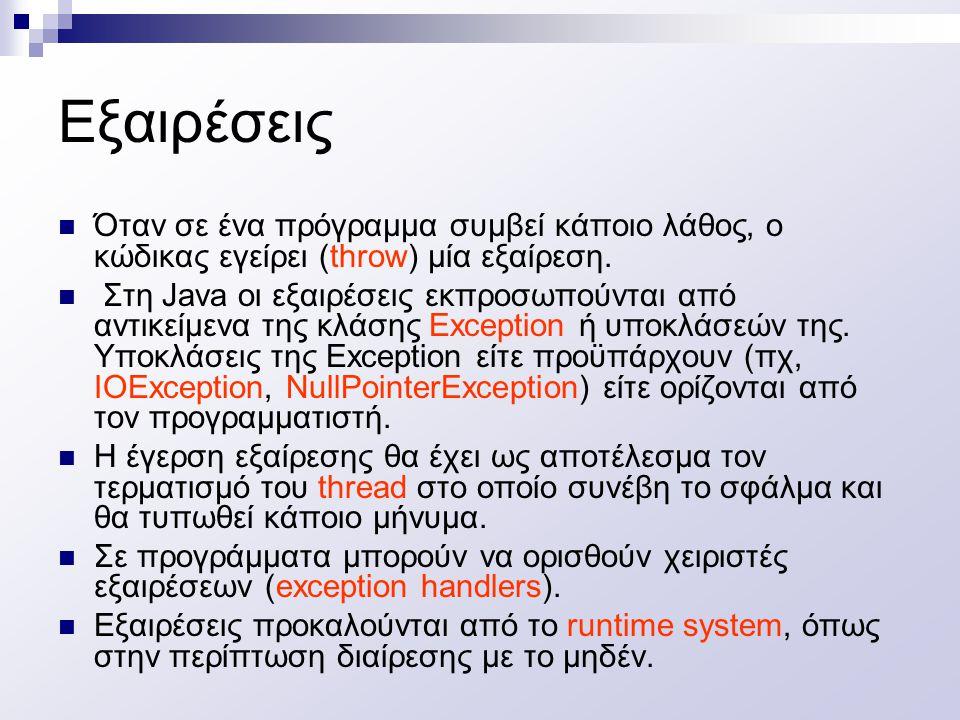 Παράδειγμα δημιουργίας και έγερσης εξαίρεσης class MyException extends Exception { } class MyClass { void oops throws MyException( ) { if (some error condition) throw new MyException ( ); }