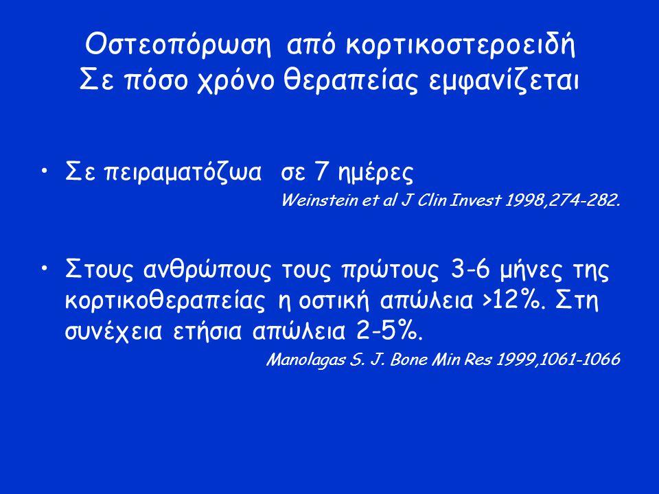 Οστεοπόρωση από κορτικοστεροειδή Σε πόσο χρόνο θεραπείας εμφανίζεται Σε πειραματόζωα σε 7 ημέρες Weinstein et al J Clin Invest 1998,274-282. Στους ανθ