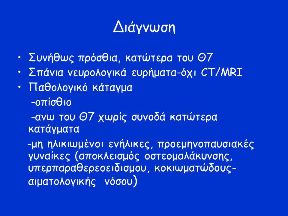 Διάγνωση Συνήθως πρόσθια, κατώτερα του Θ7 Σπάνια νευρολογικά ευρήματα-όχι CT/MRI Παθολογικό κάταγμα -οπίσθιο -ανω του Θ7 χωρίς συνοδά κατώτερα κατάγματα -μη ηλικιωμένοι ενήλικες, προεμηνοπαυσιακές γυναίκες (αποκλεισμός οστεομαλάκυνσης, υπερπαραθερεοειδισμου, κοκιωματώδους- αιματολογικής νόσου )
