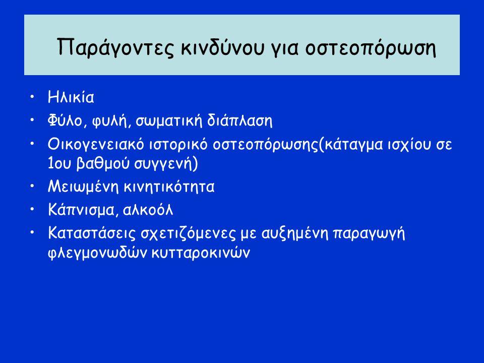 Παράγοντες κινδύνου για οστεοπόρωση Ηλικία Φύλο, φυλή, σωματική διάπλαση Οικογενειακό ιστορικό οστεοπόρωσης(κάταγμα ισχίου σε 1ου βαθμού συγγενή) Μειωμένη κινητικότητα Κάπνισμα, αλκοόλ Καταστάσεις σχετιζόμενες με αυξημένη παραγωγή φλεγμονωδών κυτταροκινών