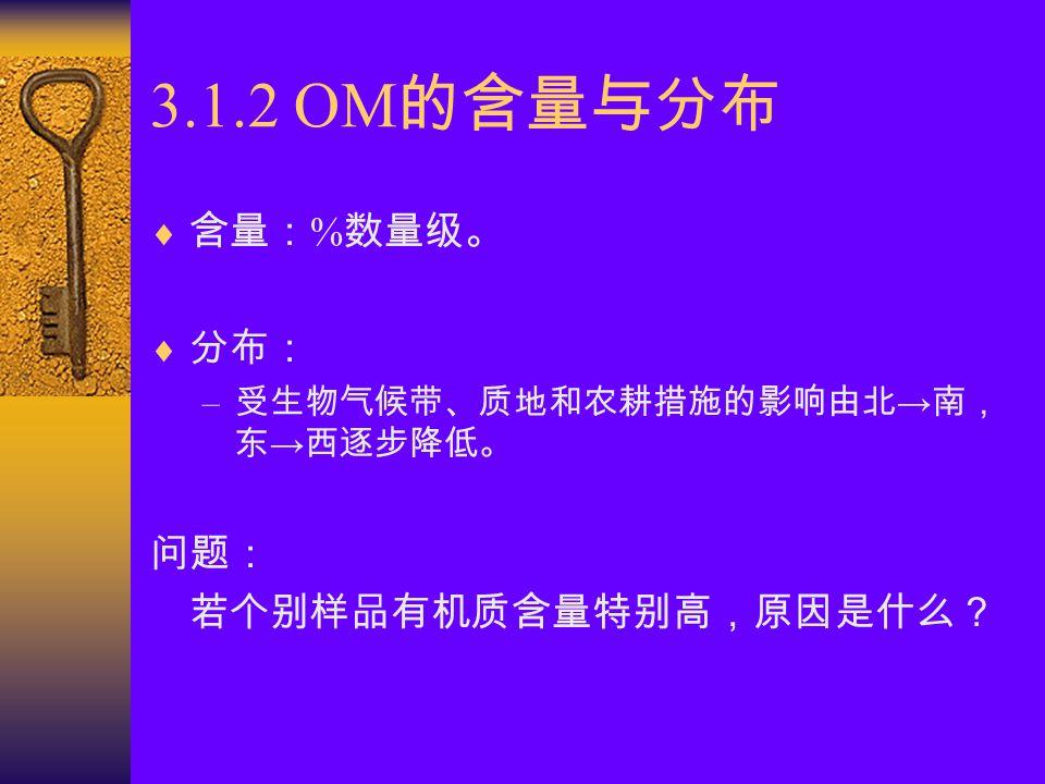 有机质测定方法 I —— 外加热重铬酸钾容量法 2K 2 CrO 7 + 8H 2 SO 4 + 3C → 2K 2 SO 4 + 2Cr(SO 4 ) 3 + 3CO 2 + 8H 2 O 2K 2 CrO 7 + 6FeSO 4 + 7H 2 SO 4 → K 2 SO 4 + 3Cr(SO 4 ) 3 + 3Fe2(SO4) 3 + 7H 2 O 与干烧法相比,该法只能氧化 90% 有机碳。 滴定酸度: 1mol/L H 2 SO 4 ; 突跃电位: 0.85~1.22V 。 问题: 1 、从反应原理看,还可以用哪些方法进行测定? 2 、方法的优缺点和适用范围如何?