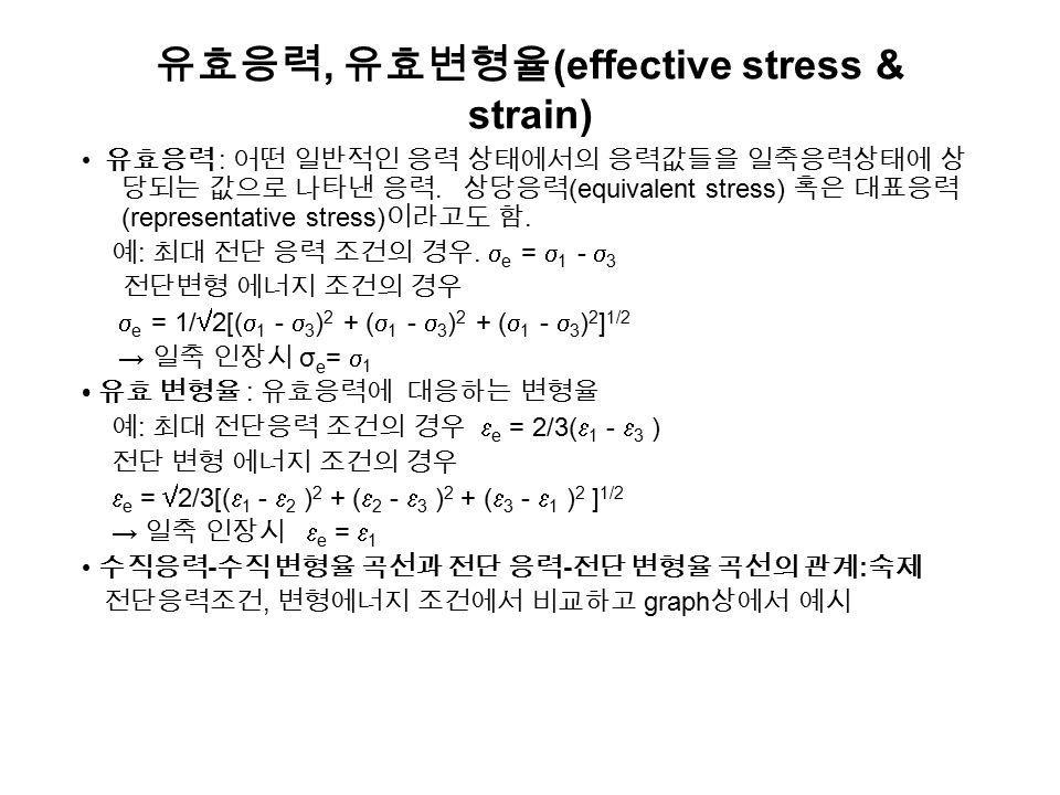 변형일과 열 변형일 : 단위 체적당 변형에 소요되는 일 = 응력 × 변형율 - 진응력 - 진변형율 곡선 ( 그림 2.42) 에서 빗금친 면적 u =   d  = Y f , Y f 는 소재의 평균 유동응력 - 일반적으로 임의의 응력 상태에서는 변형에 소요되는 총 일은 일 =(u)( 체적 ): 균일 변형에 소요되는 최소에너지 혹은 이상적 에너지 (ideal energy) - 실제 변형시 소요되는 에너지 마찰 에너지와 비균일 변형에 의한 과잉일 (redundaut work) 가 더 소 요 됨, 예 ) 그림 2.43 - 어떤 소성 가공공정의 효율은  = u(ideal)/u(total) 로 정의 예 : 압출 : 30~60%, 압연 : 75~95% 일과 열 : 소성가공시 변형에 소요된 기계적 일의 대부분은 열로 변환함.
