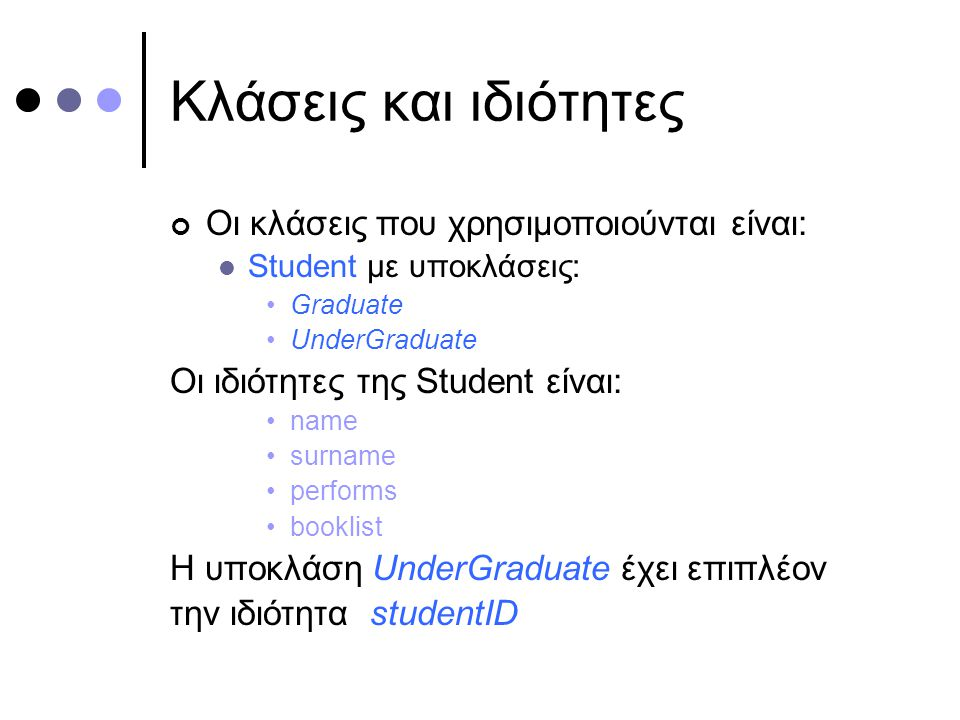 Κλάσεις και ιδιότητες Οι κλάσεις που χρησιμοποιούνται είναι: Student με υποκλάσεις: Graduate UnderGraduate Οι ιδιότητες της Student είναι: name surname performs booklist H υποκλάση UnderGraduate έχει επιπλέον την ιδιότητα studentID