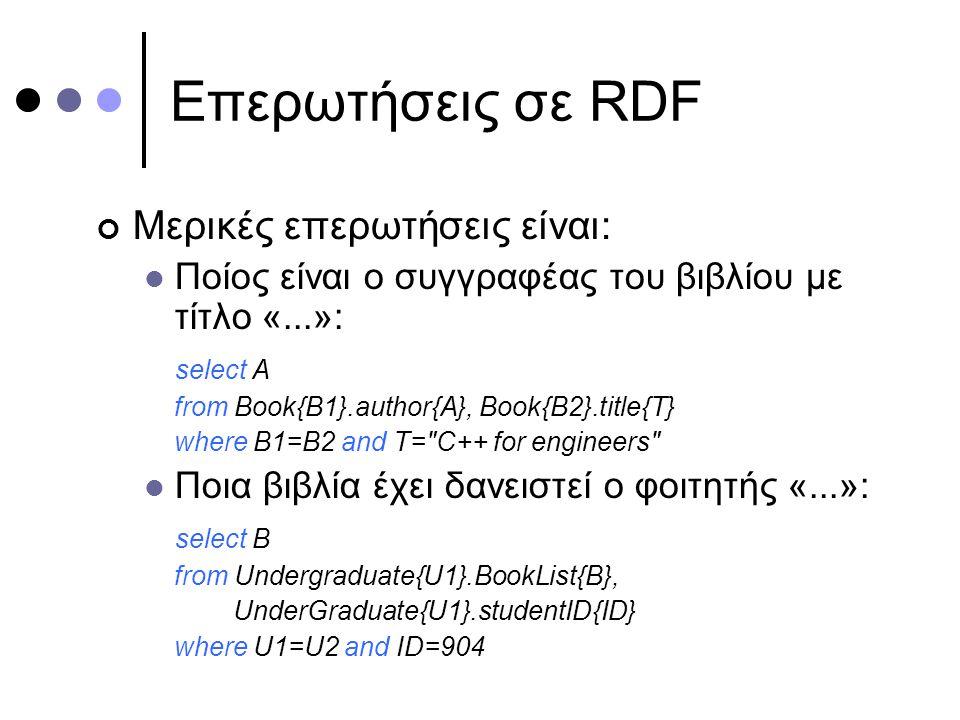 Επερωτήσεις σε RDF Μερικές επερωτήσεις είναι: Ποίος είναι ο συγγραφέας του βιβλίου με τίτλο «...»: select A from Book{B1}.author{A}, Book{B2}.title{T} where B1=B2 and T= C++ for engineers Ποια βιβλία έχει δανειστεί ο φοιτητής «...»: select B from Undergraduate{U1}.BookList{B}, UnderGraduate{U1}.studentID{ID} where U1=U2 and ID=904
