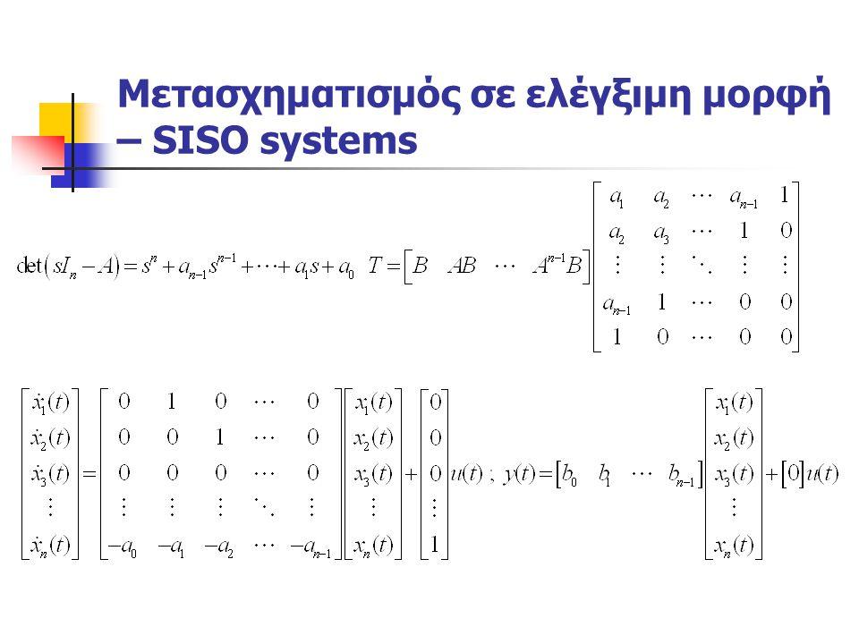 Μετασχηματισμός σε ελέγξιμη μορφή – SISO systems